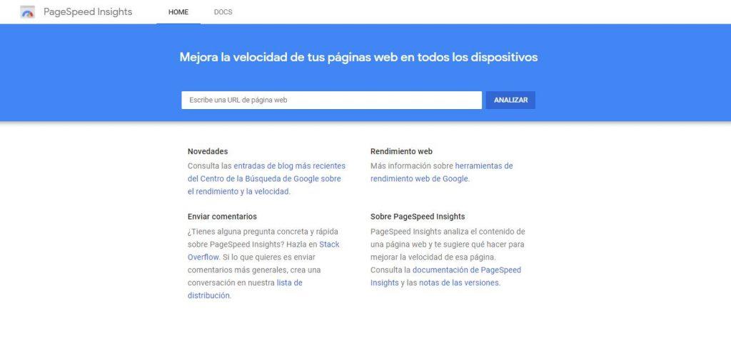 Herramienta gratis para test de velocidad web PageSpeed Insights de Google