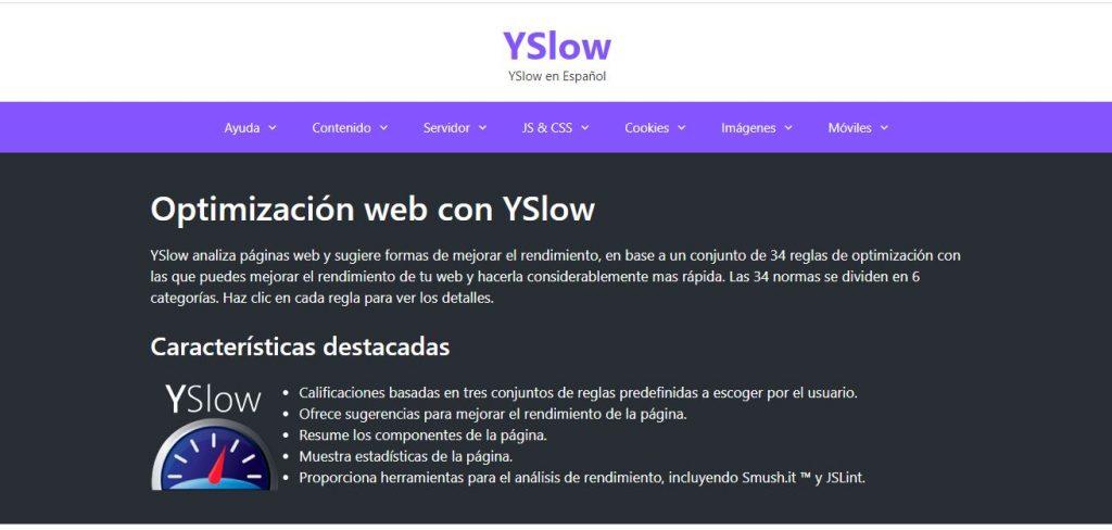 Herramienta gratis para test de velocidad web YSLOW