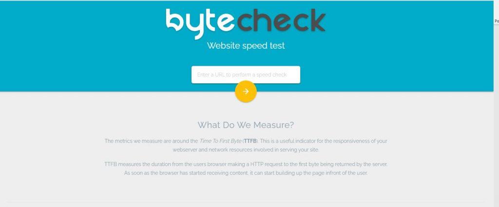 Herramienta gratis para test de velocidad web bytecheck