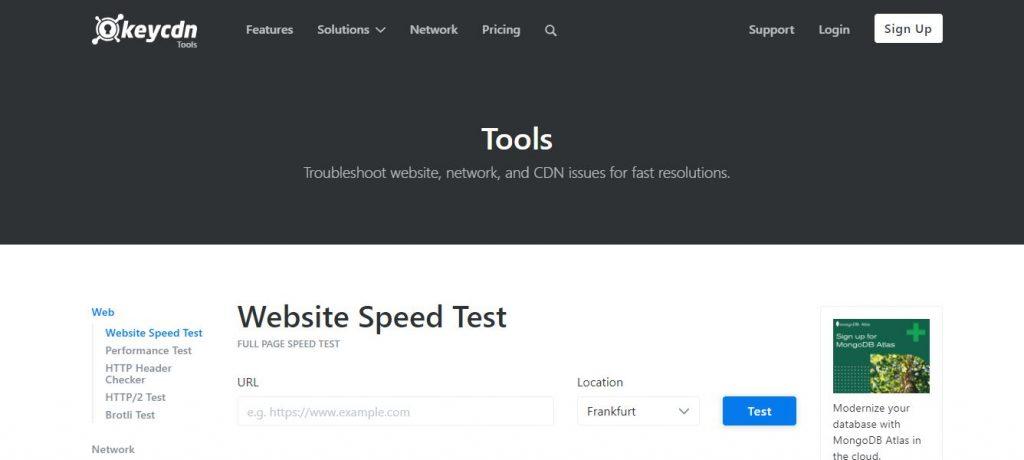 Herramienta gratis para test de velocidad web key cdn